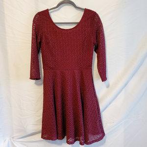 Lush Burgundy Lace 3/4 Sleeve Dress